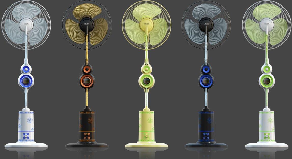 Разные цвета напольных вентиляторов